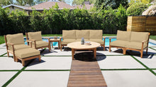 "7 pc Huntington Teak Deep Seating Sofa Set with 52"" Chat Table. Sunbrella Cushion."