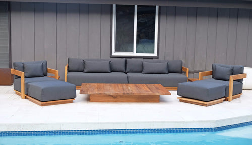 8 pc Hermosa Teak Deep Seating Deluxe Sofa with 72