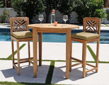 "3pc Monterey Teak Bar with 40"" Round Bar Table. Sunbrella Cushion."