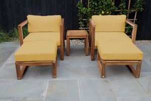 5pc Venice Teak Club Chair Chat Group. Sunbrella Cushion.