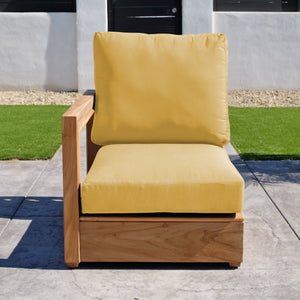 Chatsworth Teak Outdoor Left Arm Chair. Sunbrella Cushion
