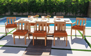 9 pc Chatsworth Teak Dining Set with Expansion Table. Sunbrella Cushion.