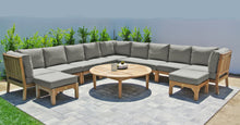 "12 pc Huntington Teak Sectional Seating Group with 52"" Chat Table. Sunbrella Cushion."
