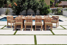 "11 pc Monterey Teak Dining Set with 120"" Double Leaf Expansion Table. Sunbrella Cushion"