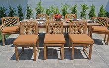 9 pc Monterey Teak Dining Set with Expansion Table. Sunbrella Cushion