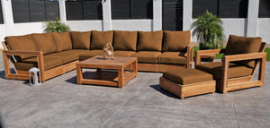 11 pc Chatsworth Teak Sectional with Coffee Table. Sunbrella Cushion