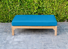 Huntington Outdoor Deluxe Teak Ottoman. Sunbrella Cushion.