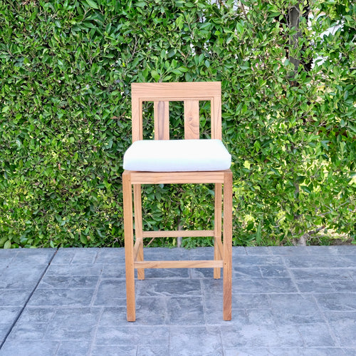 Chatsworth Outdoor Teak Armless Barstool. Sunbrella Cushion.