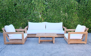 "5 pc Chatsworth Teak Deep Seating Deluxe Sofa with 24""x42"" Coffee Table. Sunbrella Cushion"