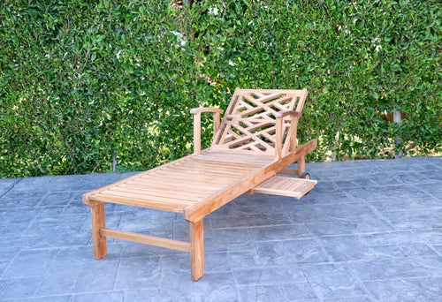 Monterey Teak Outdoor Chaise Lounger with Wheels Sunbrella Cushion.