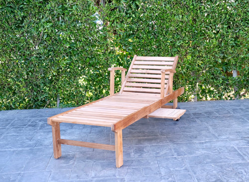 Huntington Teak Outdoor Chaise Lounger with Wheels Sunbrella Cushion.
