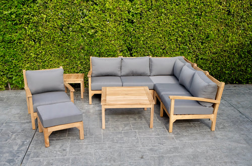 9 pc Huntington Teak Sectional Seating Group with 36