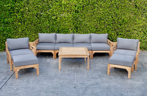 "8 pc Monterey Teak Deep Seating Set with 36"" Coffee Table. Sunbrella Cushion."