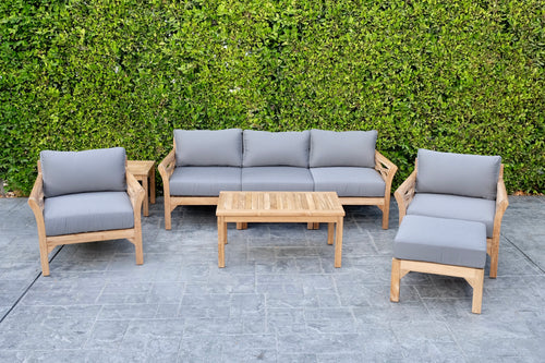 6 pc Monterey Teak Deep Seating Set with Coffee Table. Sunbrella Cushion.