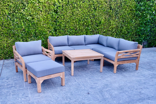 9pc Monterey Teak Sectional Seating Group with 36