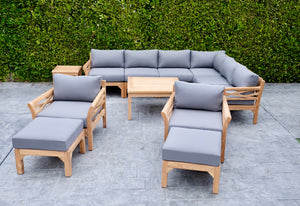 "12 pc Monterey Teak Sectional Seating Group with 36"" Chat Table. Sunbrella Cushion."