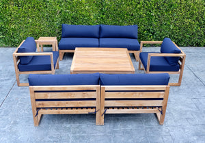6 pc Venice Teak Deep Seating Armless with Square Coffee Table. Sunbrella Cushion.