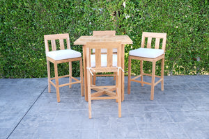 "5 pc Chatsworth Teak Bar with 40"" Square Bar Table. Sunbrella Cushion."