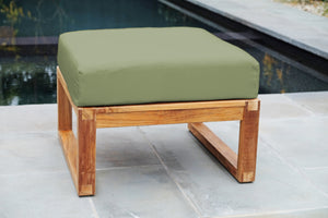 Venice Teak Outdoor Ottoman. Sunbrella Cushion.