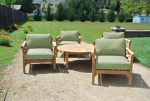"5 pc Monterey Teak Deep Seating Set with 52"" Chat Table. Sunbrella Cushion."