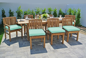 9 pc Huntington Teak Dining Set with Expansion Table. Sunbrella Cushion.