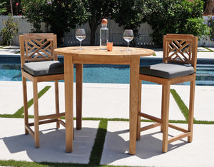 "3pc Huntington Teak Bar with 40"" Round Bar Table. Sunbrella Cushion."