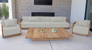 "4 pc Hermosa Teak Deep Seating Deluxe Sofa with 72"" Coffee Table. Sunbrella Cushion"