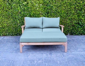 2 pc Huntington Teak Deep Seating Loveseat Daybed. Sunbrella Cushion.