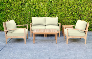 5 pc Huntington Teak Loveseat Deep Seating Set with Coffee Table. Sunbrella Cushion.
