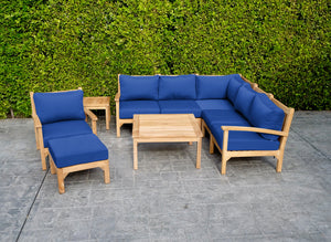 "9 pc Huntington Teak Sectional Seating Group with 36"" Chat Table. Sunbrella Cushion."