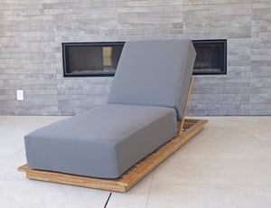 Hermosa Teak Outdoor Chaise Lounger. Sunbrella Cushion.
