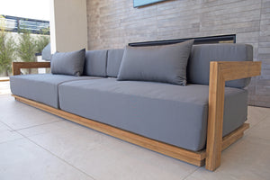 Hermosa Teak Outdoor Deluxe Sofa. Sunbrella Cushion