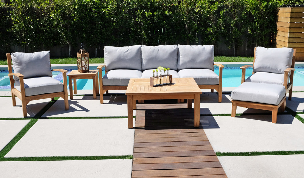 6 pc Huntington Teak Outdoor Deep Seating Group with 40