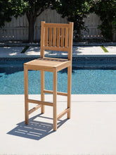 Huntington Outdoor Teak Armless Barstool. Sunbrella Cushion.