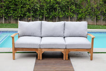 "6 pc Huntington Teak Outdoor Deep Seating Group with 40"" Chat Table. Sunbrella Cushion"