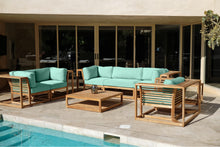 5pc Laguna Teak Sofa Deep Seating Group Loveseat with Coffee Table. Sunbrella Cushion