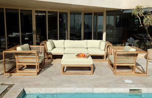 5pc Laguna Teak Sofa Deep Seating Group with Ottoman. Sunbrella Cushion