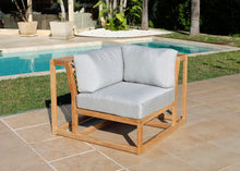 5pc Laguna Teak Deluxe Sofa Deep Seating Group with Ottoman. Sunbrella Cushion