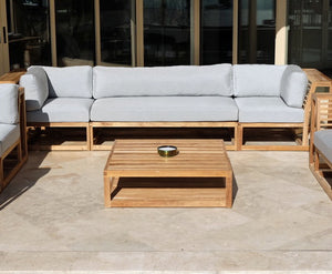 5pc Laguna Teak Deluxe Sofa Deep Seating Group Loveseat with Coffee Table. Sunbrella Cushion
