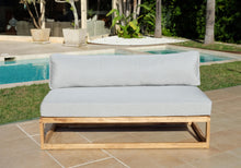 5pc Laguna Teak Deluxe Sofa Deep Seating Group Loveseat with Ottoman. Sunbrella Cushion