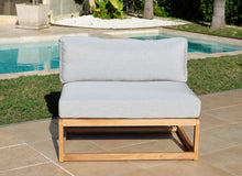 5pc Laguna Teak Sofa Deep Seating Group Loveseat with Ottoman. Sunbrella Cushion
