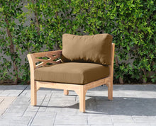 Monterey Teak Outdoor Left Arm Chair. Sunbrella Cushion
