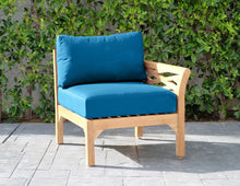 Monterey Teak Outdoor Right Arm Chair. Sunbrella Cushion