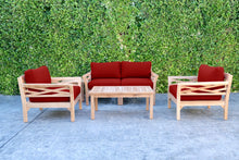 5 pc Monterey Teak Loveseat Deep Seating Set with Coffee Table. Sunbrella Cushion.