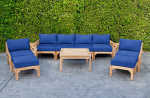 "8 pc Monterey Teak Deep Seating Set Deluxe Sofa with 36"" Coffee Table. Sunbrella Cushion."