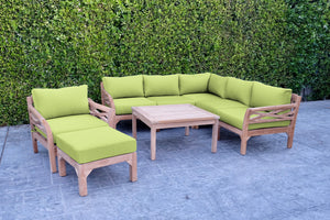 "9pc Monterey Teak Sectional Seating Group with 36"" Chat Table. Sunbrella Cushion."