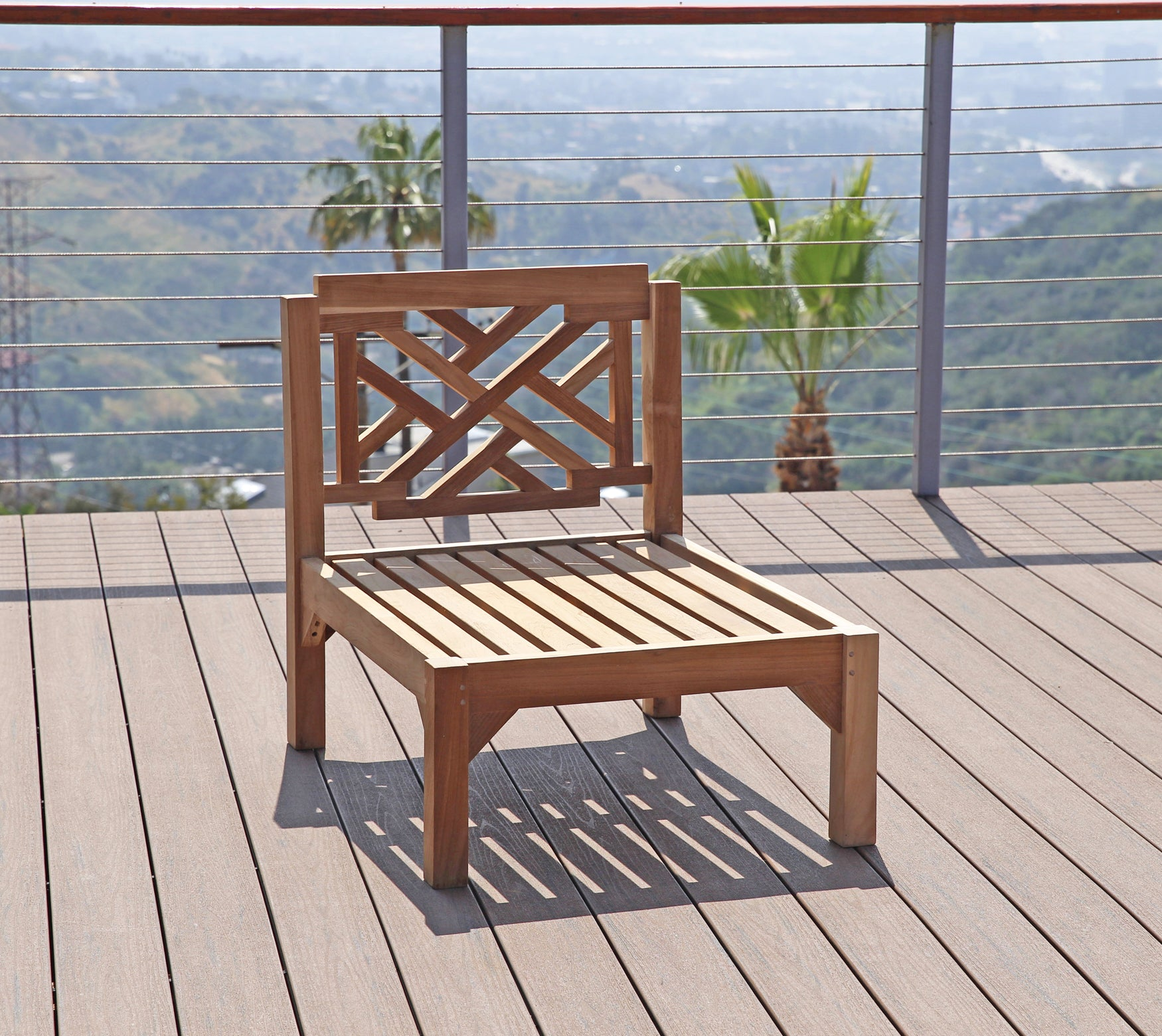 Sunbrella Cushion · Monterey Teak Outdoor Armless Chair. & Teak Armless Chair | Subrella Cushion | Modular Patio Furniture ...