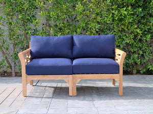 Monterey Outdoor Teak Loveseat. Sunbrella Cushion