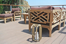 "11 pc Monterey Teak Sectional Seating Group with 52"" Chat Table. Sunbrella Cushion."