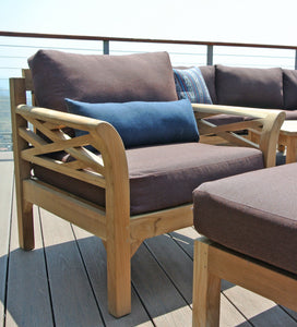"11 pc Monterey Teak Deep Seating Set with 52"" Chat Table. Sunbrella Cushion."